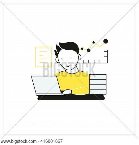 Workaholic Flat Icon.prevalence Workaholism Statistics. People Number Dependent On Work. Man At Lapt