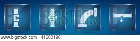 Set Industry Pipe And Valve, Water Meter, Industry Metallic Pipe And Broken Pipe With Leaking Water.