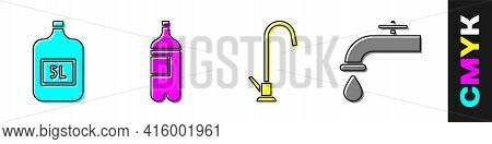 Set Big Bottle With Clean Water, Bottle Of Water, Water Tap And Water Tap Icon. Vector