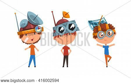Kids Wearing Steampunk Headgear And Goggles Set, Scientist Children Working On Science Experiments V