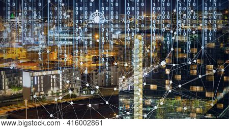 Composition of net of connections with digital interface over a cityscape in background. global technology, digital interface, connection and communication concept digitally generated image.