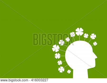 Green Eco Poster Or Placard. Human Head With Clover Leaves. Ecology, Eco Friendly, Ethic Business, E