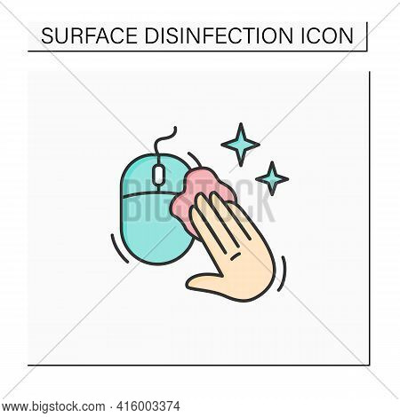 Disinfecting Computer Mouse Color Icon. Safety Workplaces. Surface Disinfection. Safety Space And Pr