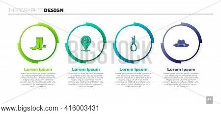 Set Cowboy Boot, Location Cowboy, Gallows Rope Loop Hanging And Western Hat. Business Infographic Te