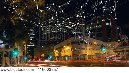 Composition of net of connections over a cityscape in background. global technology, digital interface, connection and communication concept digitally generated image.