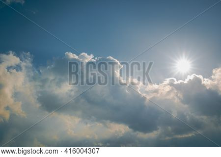 Spring Blue Sky With A Cloud At Noon