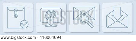 Set Line Envelope And Check Mark, Envelope With Magnifying Glass, Mail And E-mail On Speech Bubble A