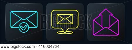 Set Line Envelope And Check Mark, Outgoing Mail And Speech Bubble With Envelope. Black Square Button