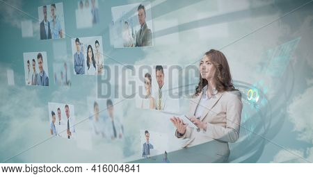 Composition of people images over caucasian woman using digital tablet in background. global technology, digital interface, connection and communication concept digitally generated image.