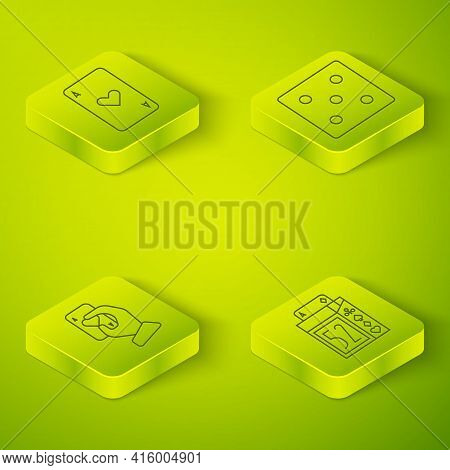 Set Isometric Game Dice, Hand Holding Playing Cards, Deck Of Playing Cards And Playing Card With Hea