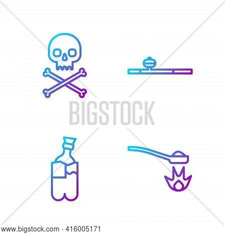 Set Line Heroin In A Spoon, Bong For Smoking Marijuana, Skull On Crossbones And Opium Pipe. Gradient