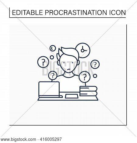 Overdoer Procrastinator Line Icon.taking Extra Work. Too Many Tasks.procrastination Concept. Isolate