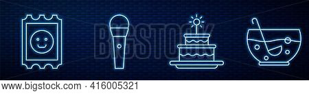 Set Line Cake With Burning Candles, Lsd Acid Mark, Karaoke Microphone And Mixed Punch In Bowl. Glowi