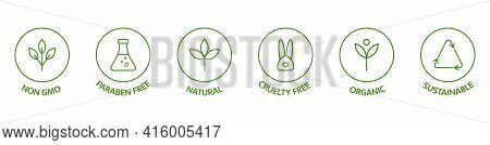 Natural Cosmetic Icons. Beauty Badges. Cruelty Free, Vegan, Bio, Paraben Free, Labels. Skincare Logo
