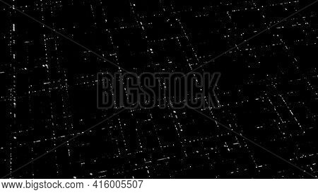 3d Light Grid On Black Background. Animation. Multi-level Grid In Cyberspace On Dark Background. Glo