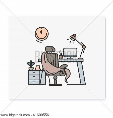 Comfortable Workplace Color Icon.home Workspace. Working Room With Seat, Desktop And Computer. Freel