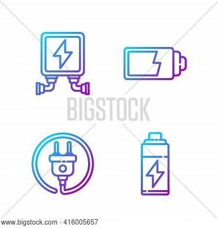 Set Line Battery, Electric Plug, Electric Transformer And Battery Charge Level Indicator. Gradient C