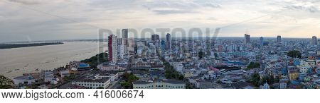 Guayaquil, Ecuador, February 18: Panoramic View Of The Downtown And Las Penas District Guayaquil  At