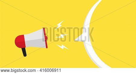 Megaphone With Speech Bubble .megaphone Icon. Loudspeaker Illustration .yellow Background. Bullhorn