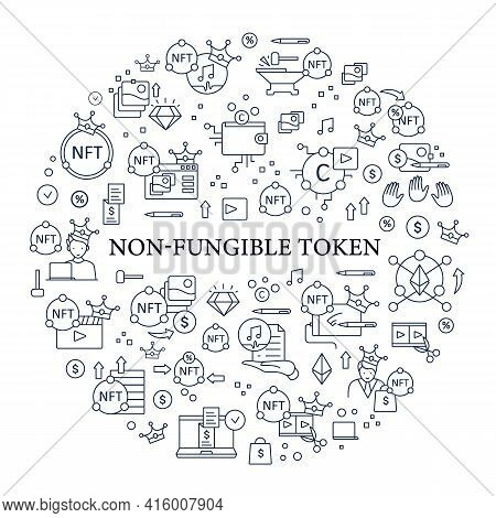 Nft Circle Poster. Non Fungible Token. Unique Digital Assets. Assets Exist In Their Own Cryptosystem