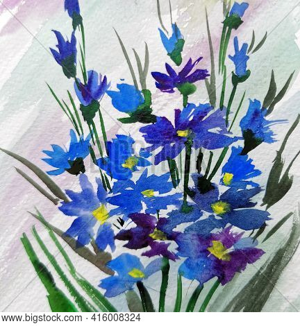 Cornflower Flowers Watercolor Illustration Mother's Day, Wedding, Birthday, Easter, Valentine's Day.