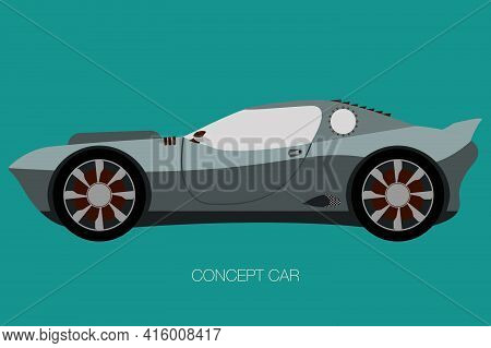 Supercar Vector, Side View Of Car, Automobile, Motor Vehicle, Flat Design, Fully Editable