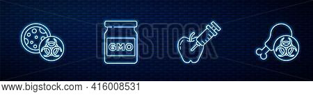 Set Line Genetically Modified Apple, Gmo, And Gmo Research Chicken. Glowing Neon Icon On Brick Wall.