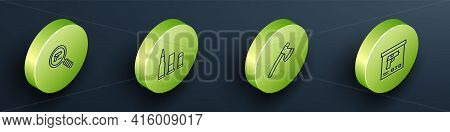 Set Isometric Line Pistol Or Gun Search, Bullet, Wooden Axe And Military Ammunition Box Icon. Vector