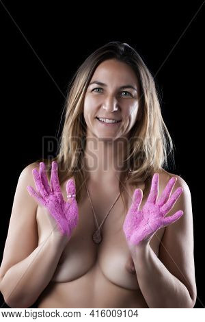 Girl Covered In Pink Powder