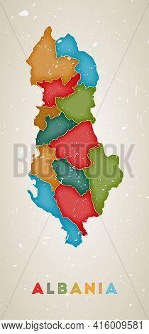 Albania Map. Country Poster With Colored Regions. Old Grunge Texture. Vector Illustration Of Albania