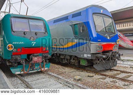 Venice, Italy - January 9, 2017: Locomotive Trenitalia At Train Station Platform In Venice, Italy.