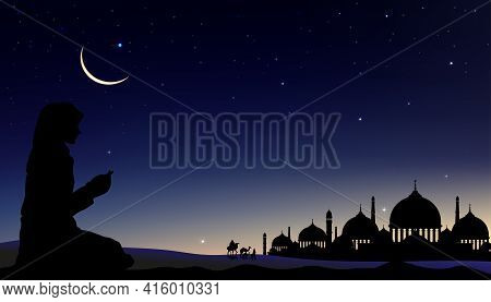 Silhouette Muslim Woman Making A Supplication (salah) With Arab Family And Camel Walking,islamic Mos
