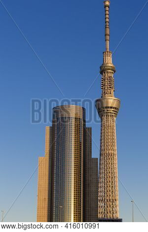 Tokyo, Japan, January 4 - 2013: Tokyo Skytree In Tokyo With Sunset, Japan 2013. The Skytree Is The W