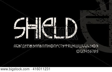 Decorative Geometric Cyrillic Sans Serif Font In The Style Of Alien Signs. Letters And Numbers With