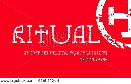 Decorative Geometric Slab Serif Font In Pagan Style. Letters And Numbers With Rough Texture For Logo