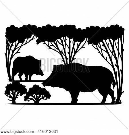 Boars Wildlife Stencils - Forest Landscape, Wildlife Clipart, Cut File, Iron On, Vector, Vinyl Shirt