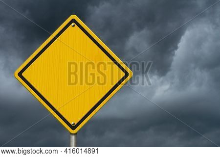 Blank Yellow And Black Warning Usa Highway Sign With Stormy Sky With Copy Space For Your Message 3d