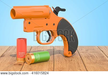 Flare Gun With Aerial Flares On The Wooden Planks, 3d Rendering