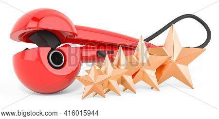 Customer Rating Of Curling Iron, Hair Curler. 3d Rendering