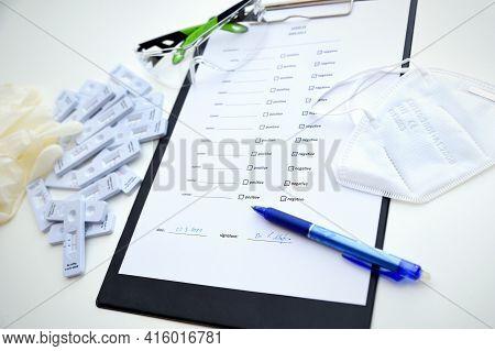 Filling Coronavirus Test Form. Covid-19 Rapid Antigen Test. Negative Outcome Medical Test Form For N