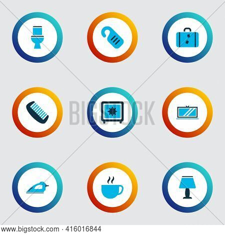 Tourism Icons Colored Set With Toilet, Safe, Tv And Other Television Elements. Isolated Vector Illus