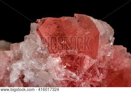 Macro Stone Mineral Fluorite On A Black Background