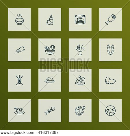 Meal Icons Line Style Set With Vegetarian Pizza, Soup, Cocktail And Other Vegetarian Elements. Isola