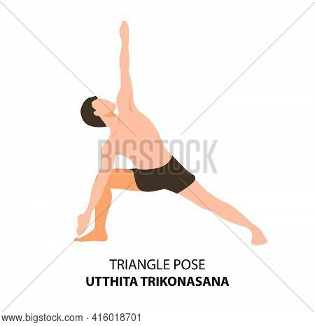 Man Practicing Yoga Pose Isolated Vector Illustration. Man Standing In Triangle Pose Or Utthita Trik
