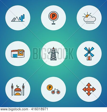 Public. Skyline Icons Colored Line Set With Parking Sign, Mill, Power Tower And Other Intersection E