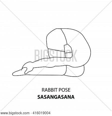Man Practicing Yoga Pose Isolated Outline Illustration. Man Standing In Rabbit Pose Or Sasangasana P