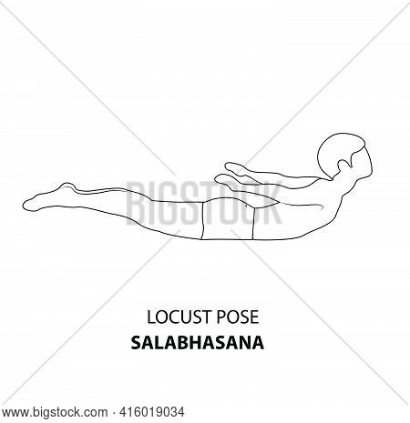 Man Practicing Yoga Pose Isolated Outline Illustration. Man Standing In Locust Pose Or Salabhasana