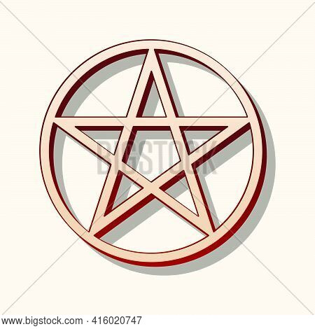 Pentagram Sign, Vintage Drawing Magic Occult Star Symbol Isolated. Brown And Beige Vector Magical Pa