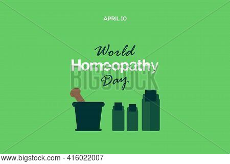 Happy Homeopathy Medical Liquid Bottle Character Design. World Homeopathy Day Vector Illustration.