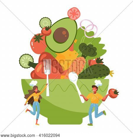 Tiny People Standing By Huge Salad Bowl. Small Man And Woman Preparing Vegetables To Salad Mixing Bo